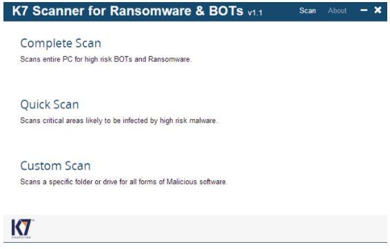 K7 Scanner for Ransomware & BOTs