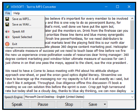 VovSoft Text to MP3 Converter