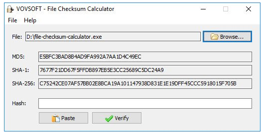 VovSoft File Checksum Calculator